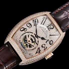 フランク・ミュラー ブラック・クロコ21600振動 (自動巻き) 新品コピー時計